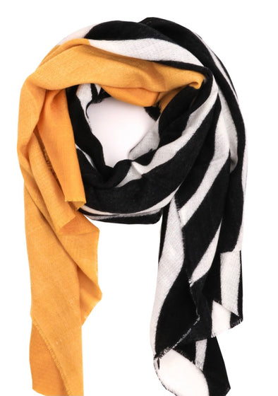 Yellow Highlight Zebra Print Scarf