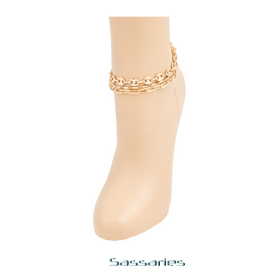 Layered Chain Link Anklet