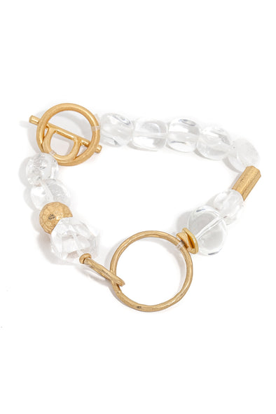 Abstract Clear Ball Beaded Bracelet