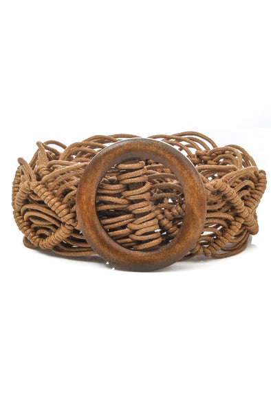Wooden Buckle Braided Belt