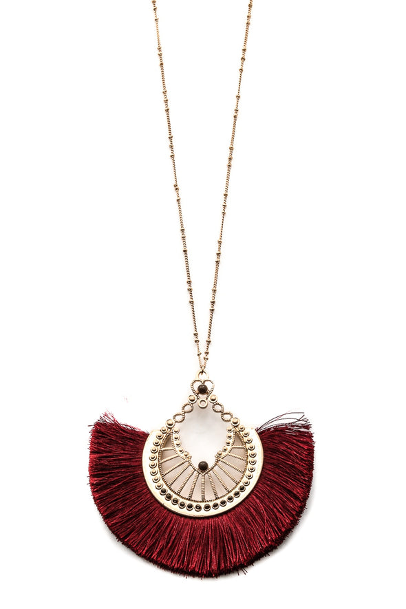Intricate Pendant Fringe Necklace