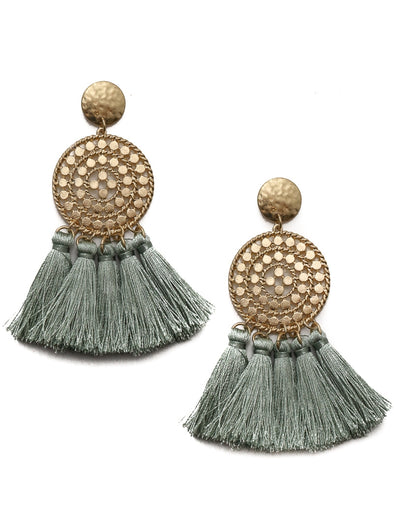 Multi Disc Fringe Earrings