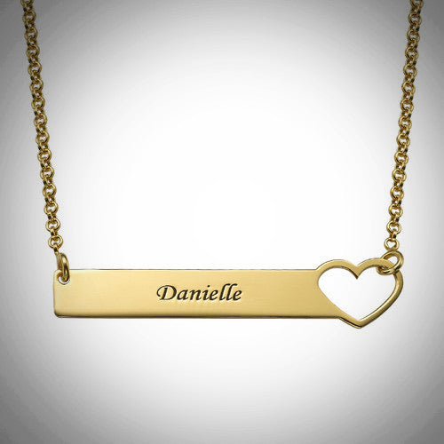 Heart Bar Necklace with Engraving