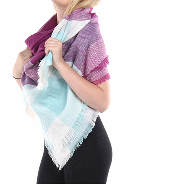 CHECKERED PATTERN SCARF (PURPLE/WHITE/LIGHT BLUE)