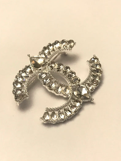 Rhinestone Double C Brooch