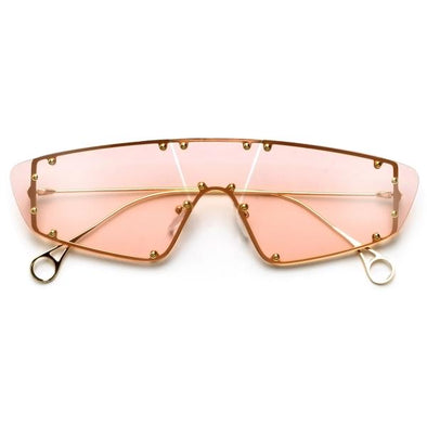 Studded Rimless Shield Sunnies