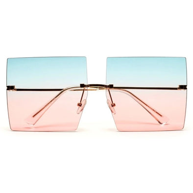 Soft Sky Rimless Square Sunglasses