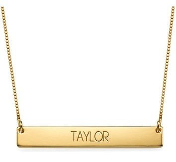 Bar Necklace with Capital Letters Engraving (Gold Plated)