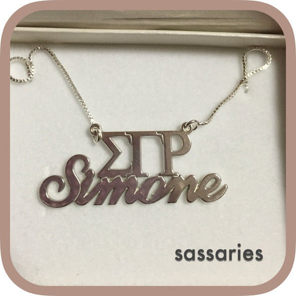 Personalized Sorority Necklace Sterling Silver