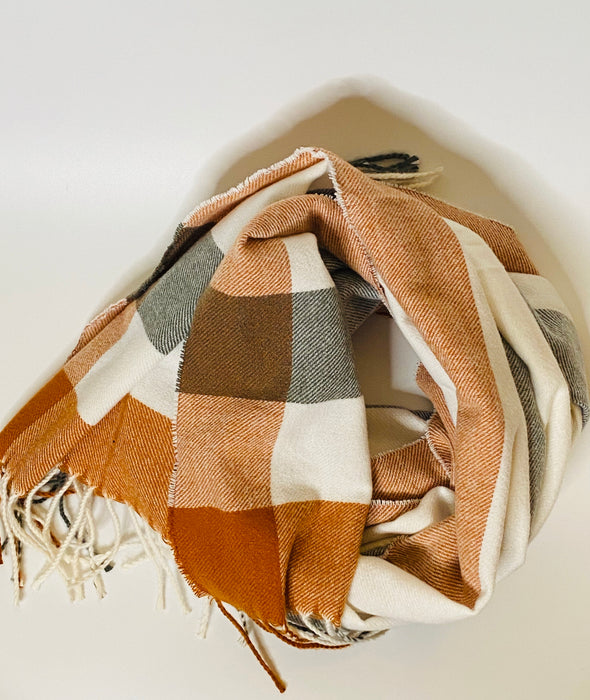 Fall Plaid Tassel Fringe Scarf