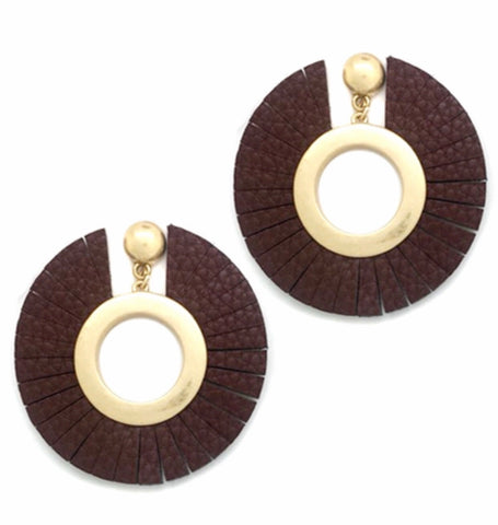 Leather Round Earrings