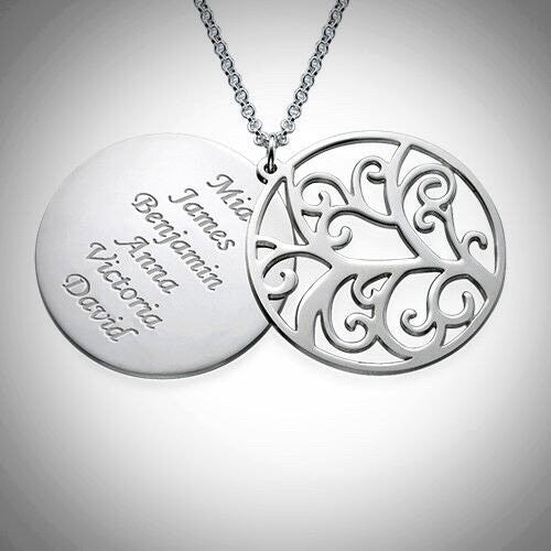 Filigree Family Tree Silver Necklace