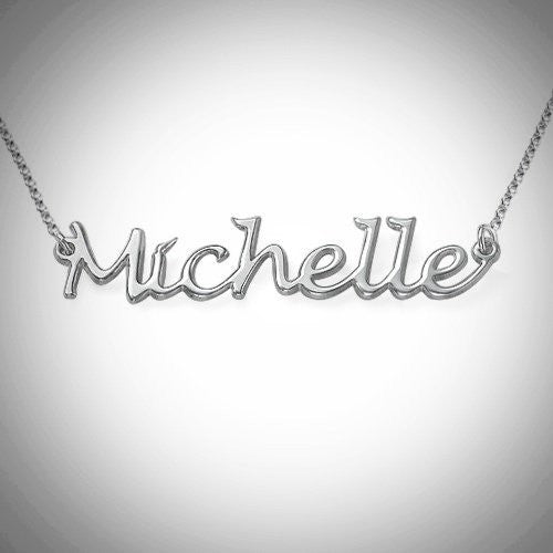 Handwritten Name Necklace / HASHTAG NECKLACE (Silver)
