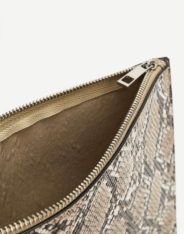 Snakeskin Pattern Zipper Clutch Bag