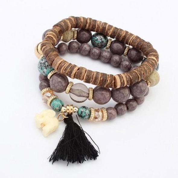 Unisex Multilayer Beads Bead Handmade Bracelets Florid Cool Multicolor BraceletBU