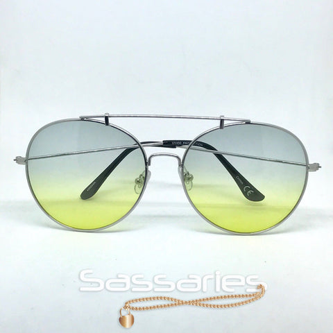 Round Top Aviators (Blue/Yellow)