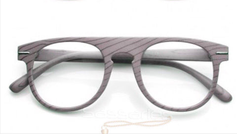 Wood Print Nerd Frames (Grey)