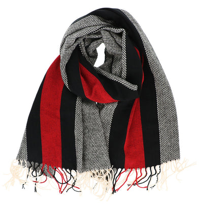 Red and Black Striped Oblong Scarf