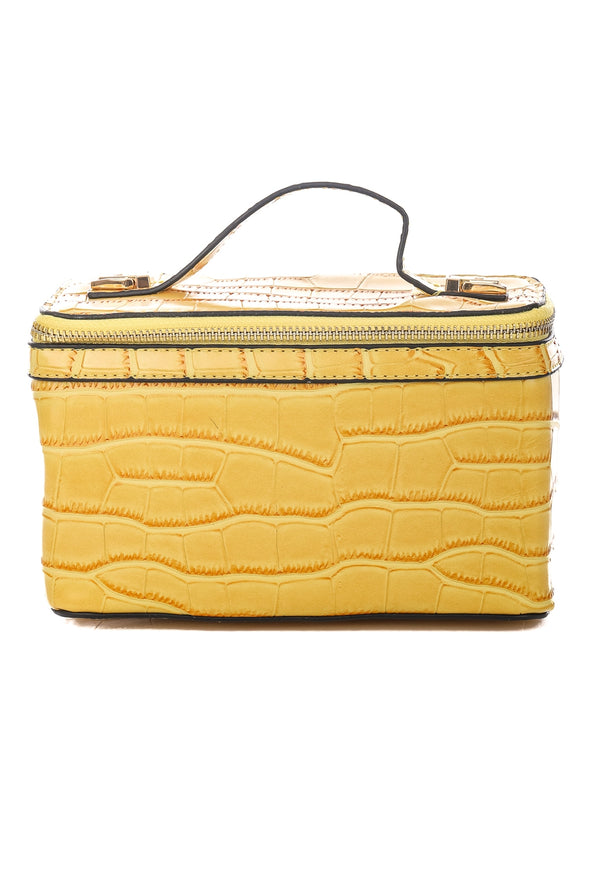 Yellow Faux Alligator Skin Brick Bag