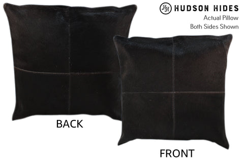 Solid Black 4 Panel Cowhide Pillow #10999