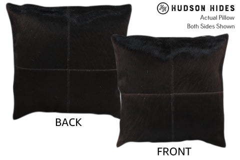 Solid Black 4 Panel Cowhide Pillow #11022