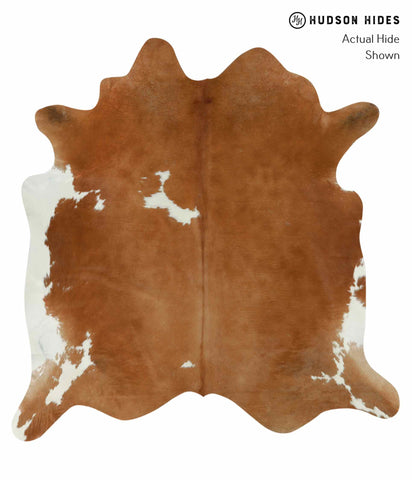 Brown and White Cowhide Rug #12469
