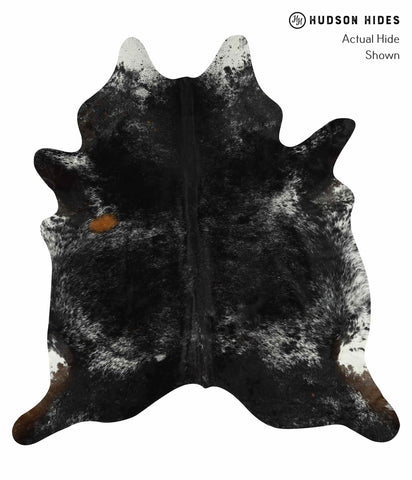 Salt and Pepper Black Cowhide Rug #14771