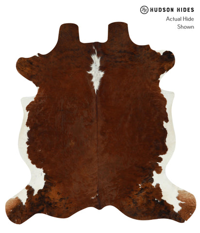 Brown and White Cowhide Rug #15717