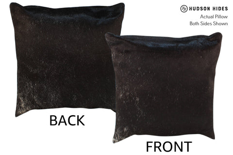 Solid Black Cowhide Pillow #18361