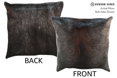 Solid Black Cowhide Pillow #18466