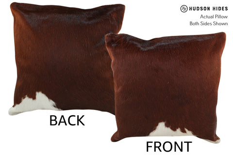 Brown and White Cowhide Pillow #18635