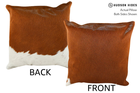 Brown and White Cowhide Pillow #18778