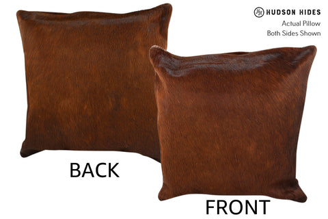 Solid Brown Cowhide Pillow #18848