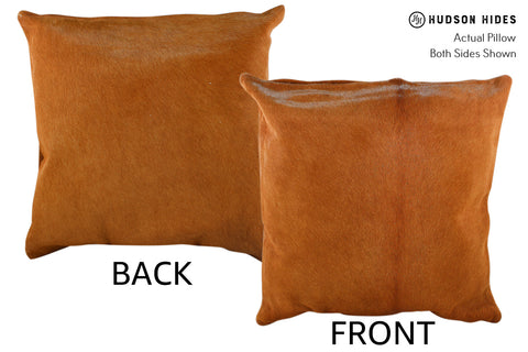 Solid Brown Cowhide Pillow #18872