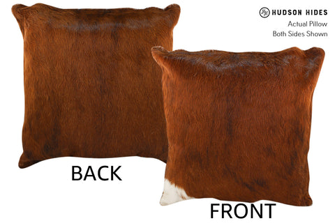Solid Brown Cowhide Pillow #18919