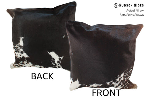 Salt and Pepper Black Cowhide Pillow #18979
