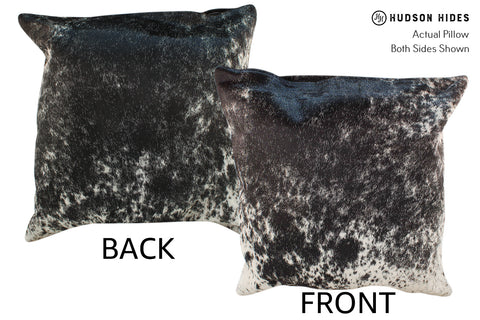 Salt and Pepper Black Cowhide Pillow #19007