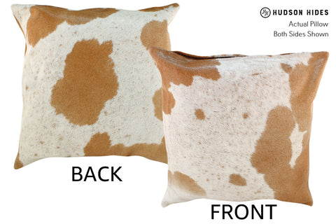 Beige and White Cowhide Pillow #19011
