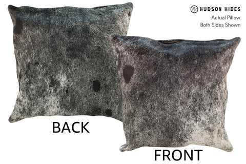 Salt and Pepper Black Cowhide Pillow #19021