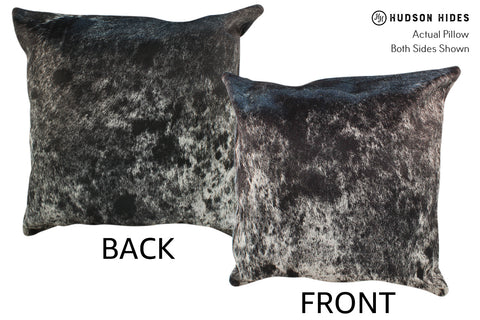 Salt and Pepper Black Cowhide Pillow #19041