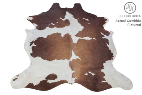 Brown and White XX-Large European Cowhide Rug 8' H x 7'W by Hudson Hides