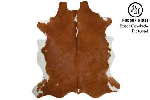 "Brown and White X-Large European Cowhide Rug 7'1""H x 6'2""W #6634 by Hudson Hides"