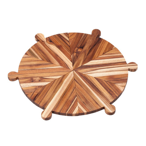 Teak Cutting Board - Rectangle Carving Board With Hand Grip And Bowl Cut Out 601