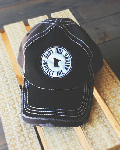 PROTECT Black/Grey Distressed Hat