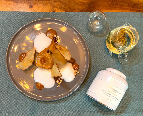 Chamomile Tea Pairing with Pouched Pear