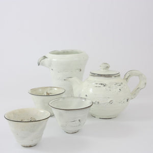Ceramic White Glaze Art Tea Set