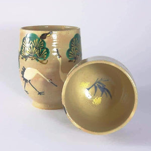 Crane Pine Plum Blossom and Bamboo Motif Tea Cup Pair from Tea Repertoire