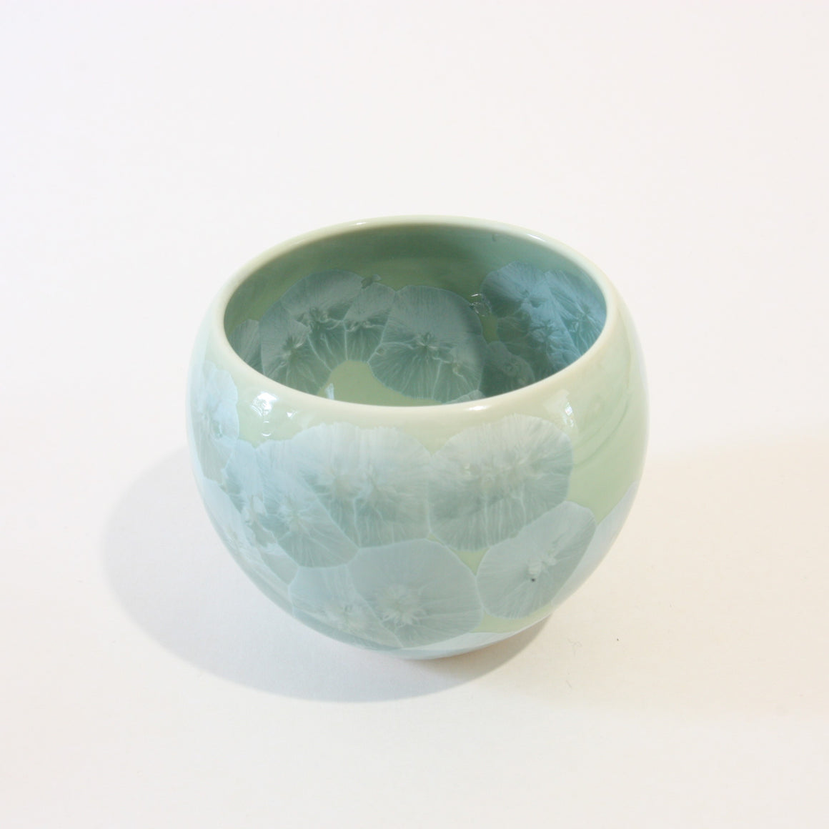 Jade Green Flower Crystal Yunomi Tea Cup
