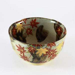 MAPLE LEAF MOTIF MATCHA BOWL (Chawan) FROM TEA REPERTOIRE