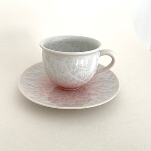 Pink Flower Crystal Tea Cup & Saucer